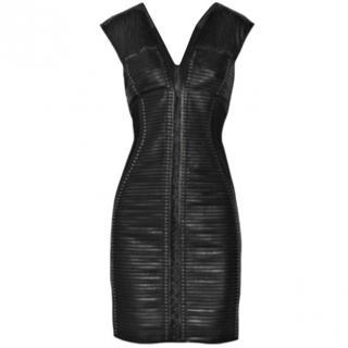 Roberto Cavalli leather insert Studded silk dress