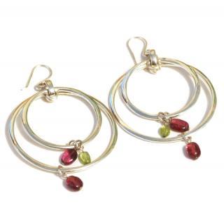 Silver large double hoop & semi precious stone earrings