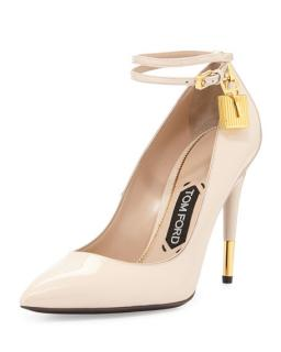 Tom Ford Nude Patent Padlock Pumps