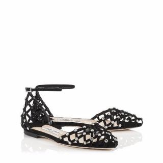NEW Jimmy Choo Shoes Davinia crystal-embellished suede 37 4 Flats �750