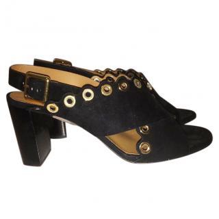 Chloe Eyelet-Studded Suede Black Sandals