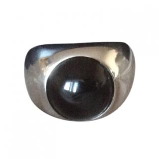Lalique silver and black cabochon ring