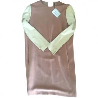 Celine leather sleeved silk dress