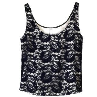 Erdem floral lace navy vest