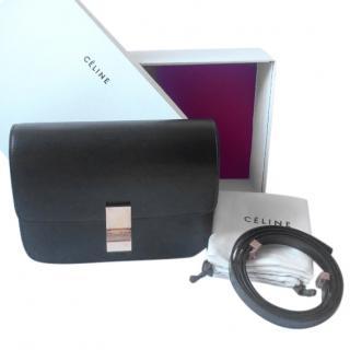 Celine Box medium black bag in liege calfskin with receipt