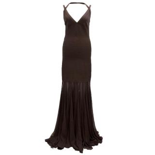 Herve Leger Brown Floor Length Dress With Chiffon