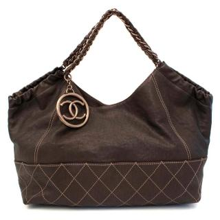 Chanel Brown Shoulder Bag With Bronze Hardware