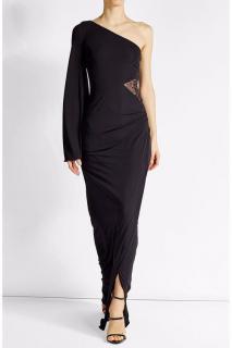 Roberto Cavalli Asymmetric Sleeve Lace Detail Gown