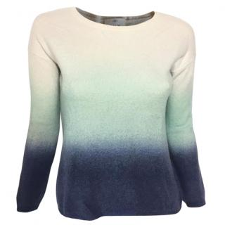 Allude cashmere blend color gradient round neck sweater
