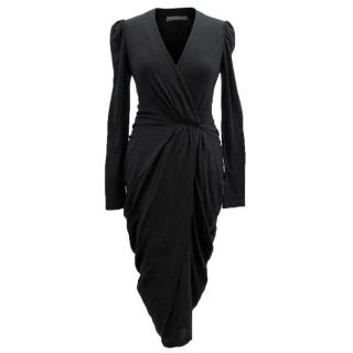 Alexander McQueen Black Long Sleeve Wrap Dress