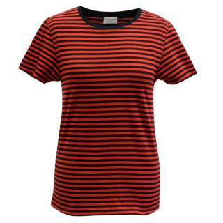 Saint Laurent Black and Red Stripe Top