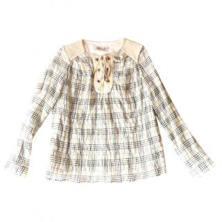 PAUL& JOE Sister checked cotton blend top