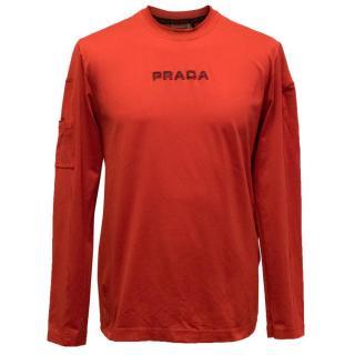 Prada Men's Red Long Sleeved Top