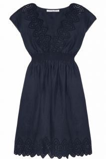 Heidi Klein Vernazza navy blue broderie anglaise linen dress