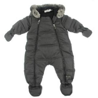 Dior Baby Boys Grey Wool Down Padded Snowsuit With Detachable Mittens