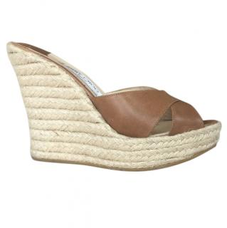 Jimmy Choo straw wedge tan mules