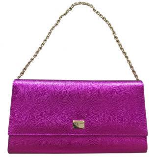 Dolce & Gabbana Ladies metallic pink clutch bag