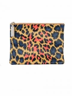 Christopher Kane Leopard print nappa leather clutch