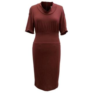 Burberry Burgandy Bodycon Dress