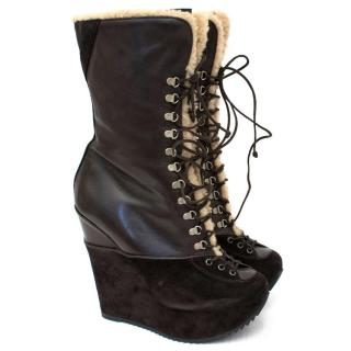Yves Saint Laurent Chocolate Shearling Lined Wege Boots