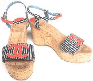 Chanel cork wedge striped sandals tattoo