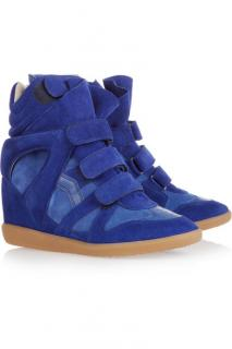 Isabel Marant blue suede leather over basket sneakers
