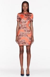 Jonathan Saunders Orange Helen Lace-print Satin Dress