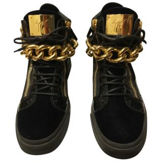 Giuseppe Zanotti Men's Gold Chain High Top Trainer