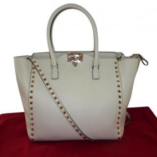 Valentino cream/white leather Rockstud tote