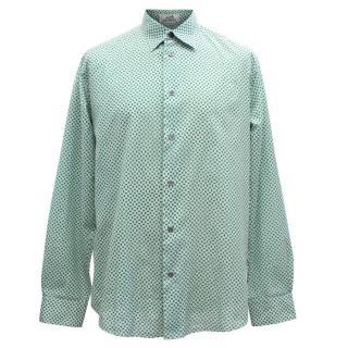Hermes Men's Green Pattern Shirt