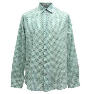 Hermes Men's Green Pattern Shirt