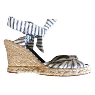 Ralph Lauren blue & cream striped wedge espadrilles ankle wrap