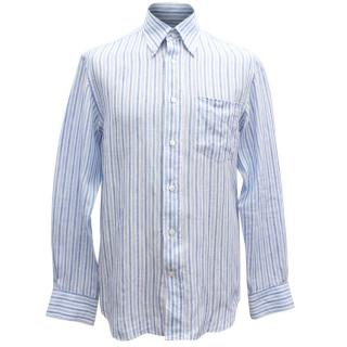 Canali Men's Blue Striped Shirt