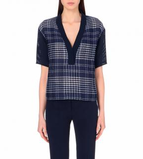 Sandro navy and white checked v-neck top