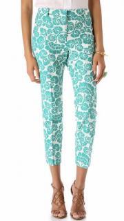 Tory Burch walton green & white trousers