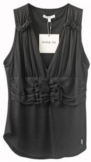 Paule ka Black chiffon & jersey sleeveless top.