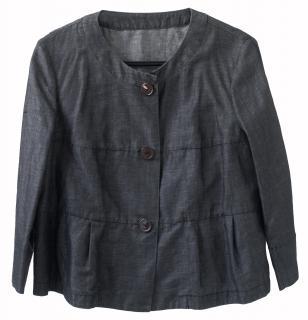 MaxMara Weekend charcoal grey collarless 3/4 sleeve Denim box jacket
