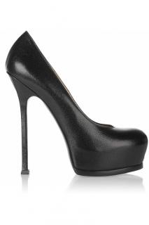 YSL tribute two black textured leather pumps