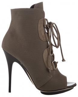 Giuseppe Zanotti canvas lace up heels in khaki canvas