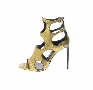 Tom Ford Metallic Python Golden Sandals with 2 buckles