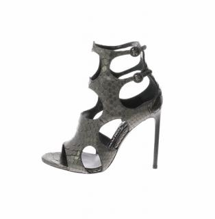 Tom Ford Metallic Python Silver Sandals with 2 buckles