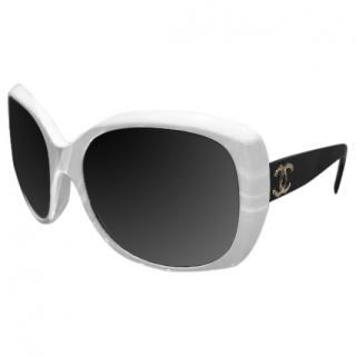 Chanel oversize black and white sunglasses