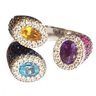 Amazing Zen Sapphire, Ruby, Citrine and Diamond Ring 18ct Gold