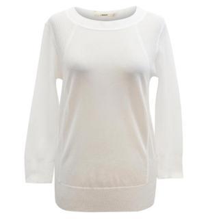 J Brand White Sheer Top