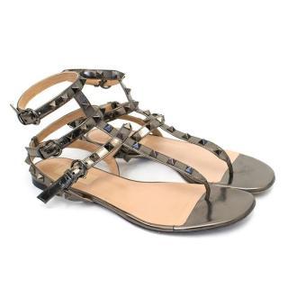 Valentino Rockstud Metallic Light Bronze Sandals