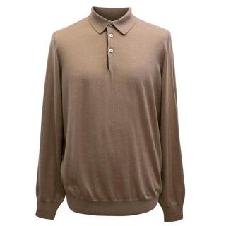 Cesare Attolini Men's Brown Long Sleeved Polo Sweater