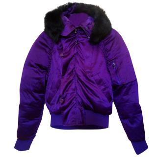 Ralph Lauren silk bomber jacket with goose down insulation