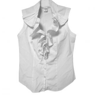 Diane Von Furstenberg white ruffle cotton top
