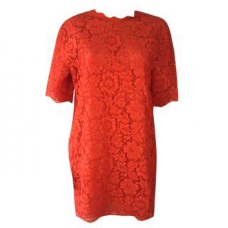 Valentino Red Lace Mini Dress