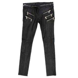 Balmain Black Cropped Leather Pants